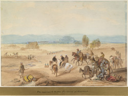 Approach to Quetta (Baluchistan); Sir John Keane and staff in middle distance